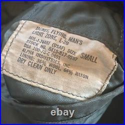 1970 Vietnam US ARMY USAF ALPHA L-2B Flight Bomber Jacket 1st Air Cavalry Small