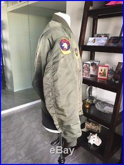 1970! Vietnam War USAF L2B FLIGHT JACKET US Air Force Mil. Uniform Sz Large