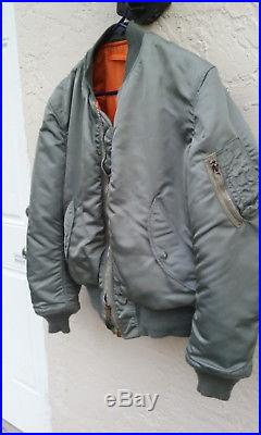 1974 Authentic Ma-1 U. S. Air Force Flight Jacket Made In Usa! Heavy Duty