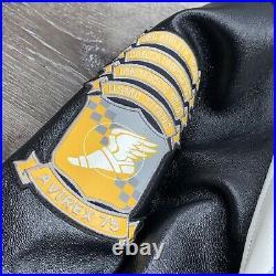 75 AVIREX Black Genuine Leather XXL New York Hornets USAF AIRMEN. Rare Item