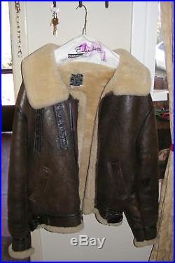 AVIREX B3 Sheepskin Leather Bomber Flying Jacket Vintage Size 40 USAF 1978