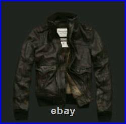 Abercrombie & Fitch Slant Rock M Leather Flight Jacket Aviator Bomber Pilot Usaf