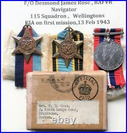Air Crew Europe Star Casualty Medal Group RAF 115 Squadron KIA first op
