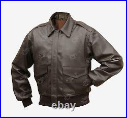 Brown Leather US Pilots A2 Jacket WW2 Coat American Repro Air Force All Sizes