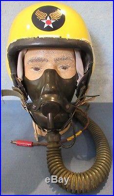 C. 1950-59 USAF P1A flight helmet with oxygen mask & comfort cap