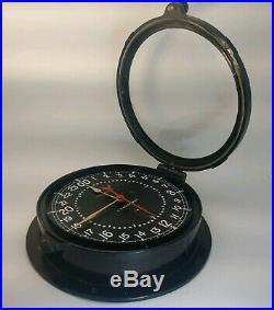 Chelsea Clock U. S. Air Force Black 10 1/2 1966 Vietnam Era 24 Hr Dial
