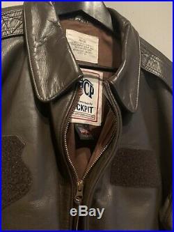 Cockpit USA Size 44 R USAF Brown Leather Bomber Jacket A-2 AF Flight Flyer DSCP