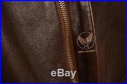 Eastman Air Force USA Rare Type A-2 Vtg Flight Leather Jacket Pilot Bomber 42-l