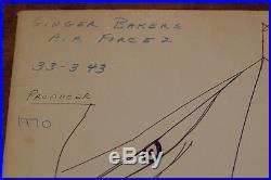 GINGER BAKER AIR FORCE ORIGINAL HAND DRAWN INK SELF PORTRAIT + 3 TEST PRESS LPs