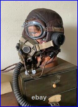 Genuine WW2 RAF Leather Type C Flying Helmet with Oxygen Mask & Radio Leads +