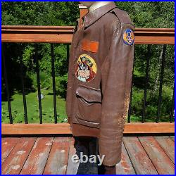 Genuine WWII A-2 Flight Bomber Jacket 398th Group 603rd Squadron 8th Air Force