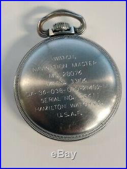 Hamilton Gct 22j Usaf 4992b Military Pocket Watch Chronometer Works