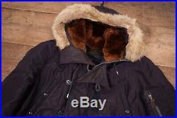 Mens Vintage 50s USAF N-3A Navy Blue Cold Weather Parka Coat Medium 38 R12824