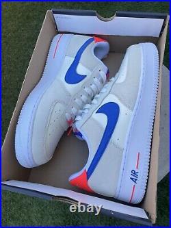 NEW Mens Nike Air Force 1 07 LV8 Coconut Milk Hyper Royal DM8314-100 Sz 12