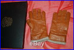 NIB GHURKA mens classic chestnut leather cashmere lined gloves size 8 $325 ITALY