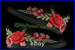 Nike Air Force 1 07 Low Men Red Black Rose Flower Floral Custom Shoes Size 14