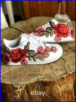 Nike Air Force 1 07 Low Men Red White Rose Flower Floral Custom Shoes Size 12