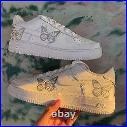 Nike Air Force 1 07 Low Reflective Butterfly White Custom Shoes All Sizes