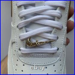 Nike Air Force 1 Low'07 LV8 White Metallic Gold DC2181-100 Men's Size 8