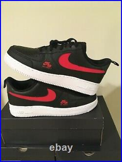 Nike Air Force 1 Low LV8 Utility Black Red White Shoes Gym CW7579-001 Size 10