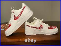 Nike Air Force One Custom'Red Bandana' Size 10.5 Mens, 12 Womens