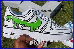 Nike Custom Air Force 1 Green Drip Mens 7 / Women's 8.5 Actual item
