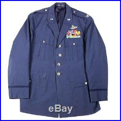 ORIGINAL 3 WARS VETERAN US AIR FORCE USAF DRESS BLUE JACKET With RIBBONS COLONEL