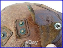 ORIGINAL WWII 1941 US TYPE B-5 ARMY AIR FORCE RED SKIN LEATHER FLYING HELMET Med