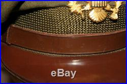 Original Early WW2 U. S. Army Air Forces Officers Wool Crusher Visor Cap withBadge