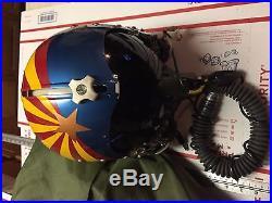Original Vintage USAF Pilots Flight Helmet & O2 Mask Arizona with Bag Named