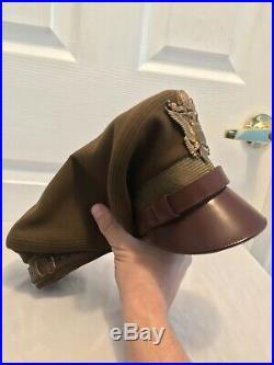 Original WWII US Army Air Force Flight Ace Visor Hat Crush Crusher Cap