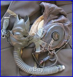 Original WWII US Army Air Forces Leather Pilots Helmet with All Attachments