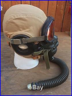 Original WWII US Army Air Forces M-3 Flak Helmet Oxygen Mask & Goggles USAAF
