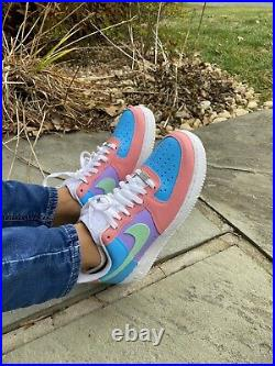 Pink Mint Green Sky Blue Lilac Purple Nike Air Force 1 Womens Sneakers All Sizes