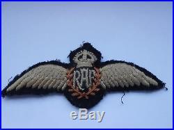 RAF Royal Air Force pilots wings second war vintage silk padded