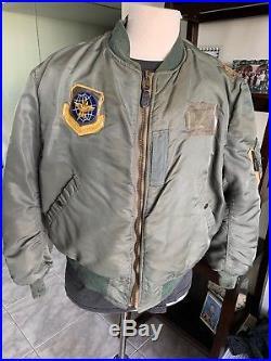 RARE! 1950s Rolen USAF MA-1 FLIGHT JACKET US Air Force Mil. Uniform XL REAL