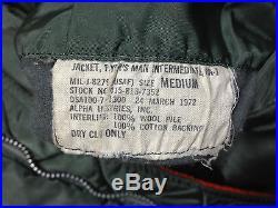 RARE 1972 Vintage USAF Pilot MA-1 FLYING JACKET US Air Force Military Uniform