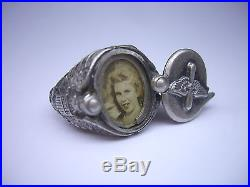 Rare Vintage Us Army Air Force Prop Wings Sterling Silver Sweetheart Locket Ring