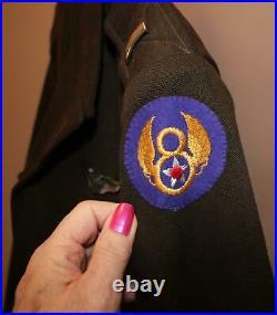 RARE WW II US ARMY AIR FORCE USAAF ETO 8th AIR FORCE 1st LT CHOCOLATE IKE JACKET