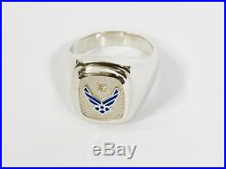 RING UNITED STATES AIR FORCE STERLING SILVER. SIGNET STYLE With. 03 ct. DIAMOND