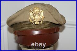 Scarce Original WW2 U. S. Army Air Forces Real Crusher Khaki Visor Cap withBadge