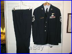 Set of USAF Air Force Blue Mens Poly/Wool Dress Service Coat Jacket 48 S