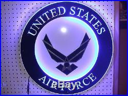 United States Air Force Usaf Metal Led Bar Sign Man Cave Armed Forces