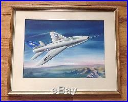 USAF F-100 Super Sabre Jet Fighter Original Watercolor Painting Circa 1960's