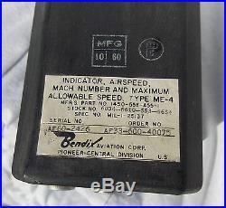USAF F-104 & SR-71 Look Alike Type MACH Airspeed Indicator Gauge Instrument