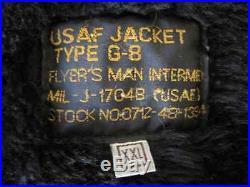 USAF G-8 Flyers Bomber Air Force Pilot Aviator Jacket Sz XXL Mens Leather Black