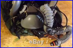 USAF HGU 55/P Large Flight Helmet with air mask and microphone