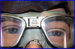 USAF Leather Skull Cap & Goggles. NICE! LQQK