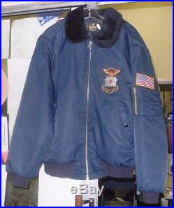 US AIR FORCE USAF BLUE LARGE JACKET EMBROIDERED/EAGLE /AMERICAN FLAG TIMBER KING