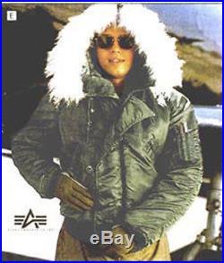 US Made ALPHA Air Force Flyer`s Pilot N-2B Cold Weather Jacket Parka Large L